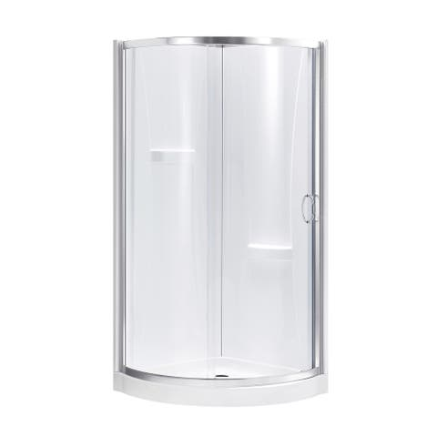 OVE Decors Breeze 32 in. Satin Nickel Shower Kit with Clear Glass Panels, Walls and Base included