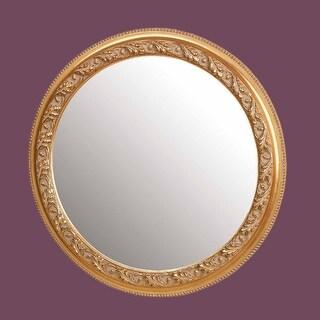 Vintage Vanity Mirror Gold Wood Round Frame