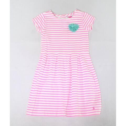 Joules Girls Dresses Deep Pink Size 12 Striped Floral-Heart-Applique
