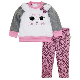Duck Goose Baby Girls Cute Kitty Cardigan Sweater Animal Print Legging Pant Set