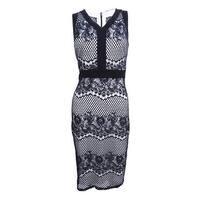 Sangria Women's Sleeveless Lace V-Neck Sheath Dress (6, Black/White) - Black/White - 6