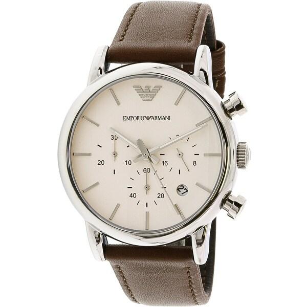 Emporio Armani Men's Classic Brown Leather Japanese Quartz Fashion Watch