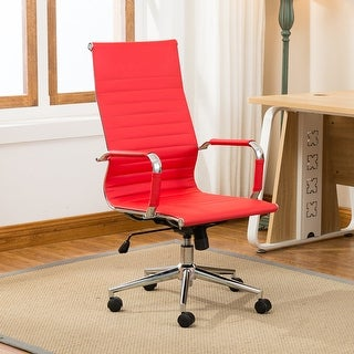 Belleze Modern High-Back Ribbed Upholstered Conference Office Chair, Red
