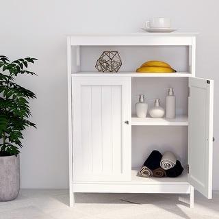 Bathroom Standingn White Storage with Double Shutter Doors Cabinet