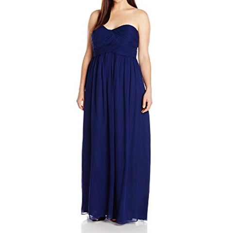 Donna Morgan Blue Women's Size 18W Plus Laura Silk Chiffon Gown