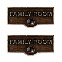 2 Switch Plate Tags FAMILY ROOM Name Signs Labels Cast Brass | Renovator's Supply