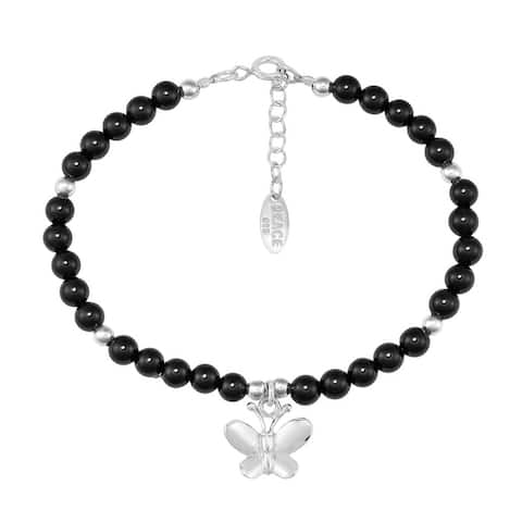 Handmade Charming Peace Butterfly Round Beaded Sterling Silver Bracelet (Thailand)