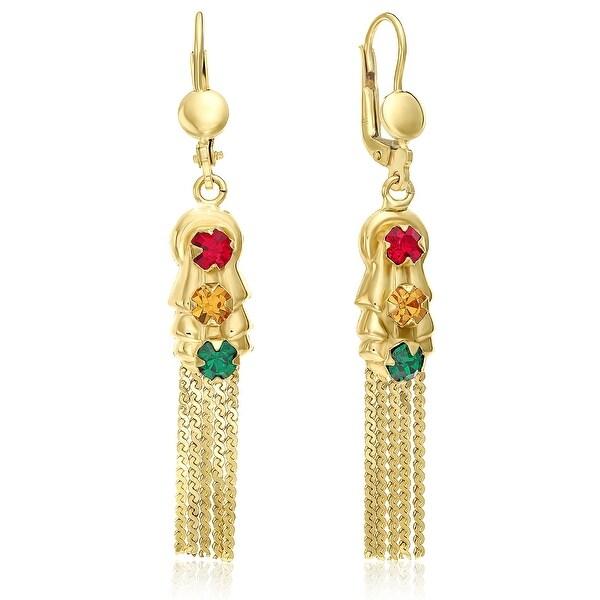 "Mcs Jewelry Inc 14 KARAT YELLOW GOLD DANGLING TRAFFIC- LIGHT DESIGN EARRINGS (2.05"" LONG)"