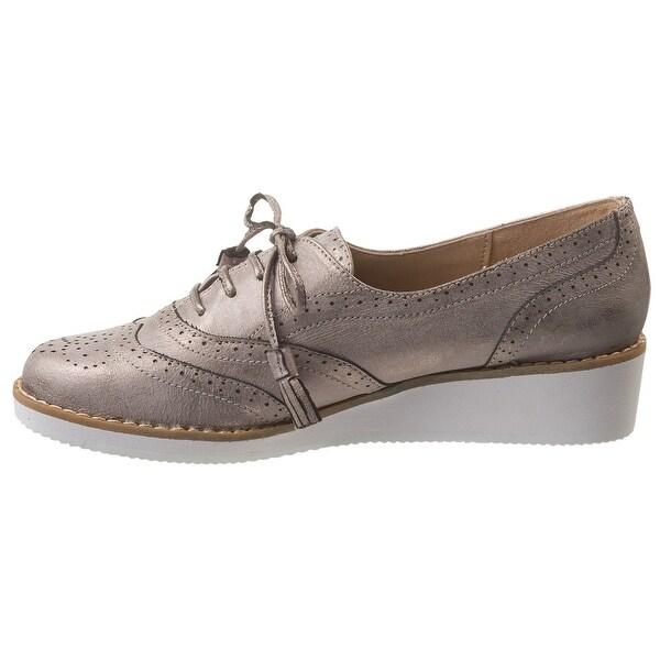 Adrienne Vittadini Womens Trink Low Top Lace Up Fashion, Taupe, Size 10.0