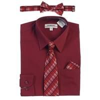 Gioberti Little Boys Burgundy Tie Bow Tie Handkerchief Dress Shirt 4 Pc Set