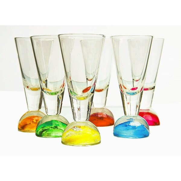 Palais Glassware Elegant Clear 2 Oz. Shot Glass with Multicolored Ball Base - Set of 6 (Half Ball Base)