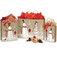 Pack of 125, Woodland Snowman Bag Assortment For Christmas Packaging, Made In Usa.