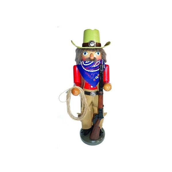 "14.5"" Home on the Range Cowboy Wooden Christmas Nutcracker with Rope and Rifle"