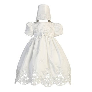 Baby Girls White Shantung Cutwork Dress Bonnet Christening Set 6-24M