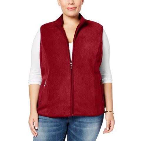 Karen Scott Womens Sweater Red Size 1X Plus Vest Fleece Full-Zip
