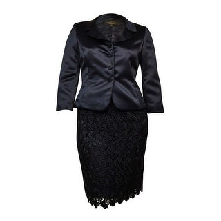 Tahari Women's Luxe Notched Lapel Lace Overlay Satin Skirt Suit - 4