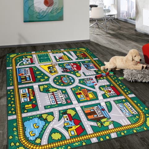Kids Educational Learning City Life Road Non Slip Area Rug