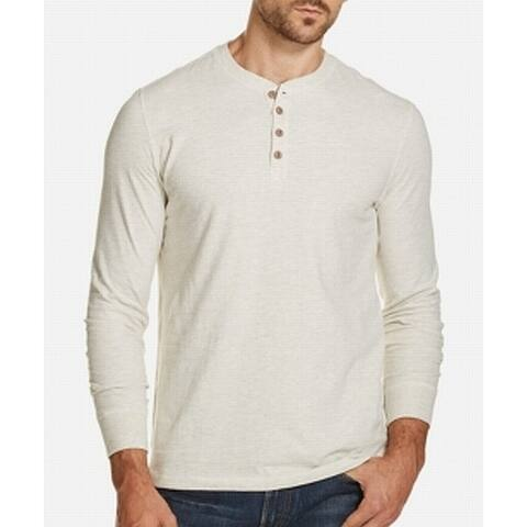 Weatherproof Mens Sweater Beige Large L Long Sleeve Henley Pullover