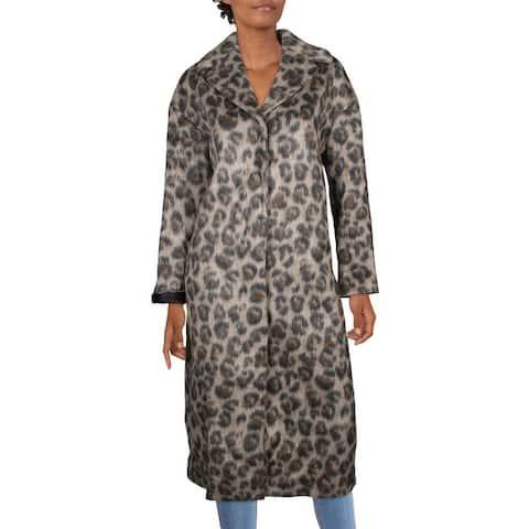 Kate Spade Womens Long Coat Faux Fur Leopard Print - Hazelnut