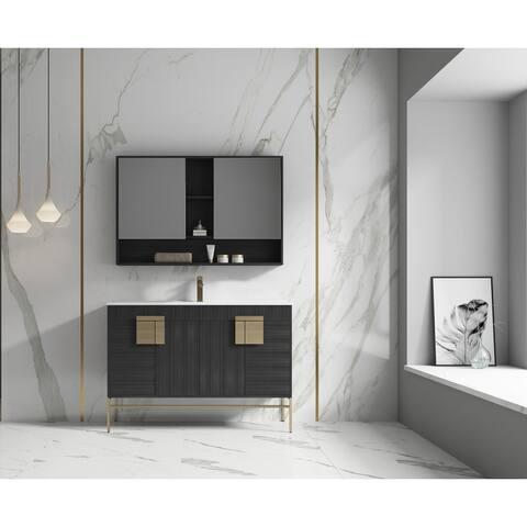 "Alma Bulanka 48"" Single Sink Vanity Dawn grey Finish , Golden Brass Hardware"