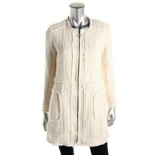 Zara Womens Distressed Zip Front Coat - L