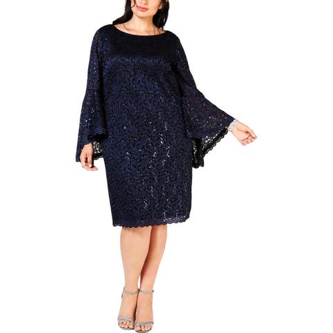 Jessica Howard Womens Plus Cocktail Dress Lace Sequined