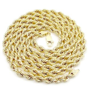 """10k Yellow Gold Mens Or Ladies Hollow Rope Necklace 28"""" Inch Chain 6 MM"""
