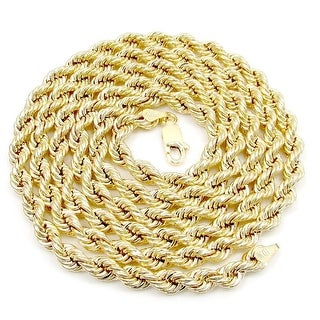 """Men Ladies 10k Yellow Gold 30"""" Inch Diamond Cut Hollow Rope Necklace 5 MM Chain"""