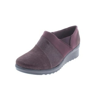 Clarks Womens Caddell Wedges Mixed Media Faux Suede - 8.5 wide (c,d,w)