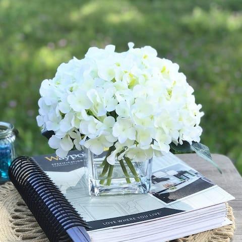 Enova Home Cream Hydrangea Faux Silk Flowers in Clear Glass Vase