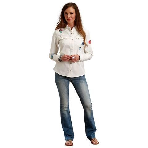 Stetson Western Shirt Womens Long Sleeve Cream