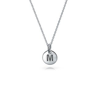 Bling Jewelry .925 Silver Petite Letter M Initial Disc Pendant Necklace 18 Inches