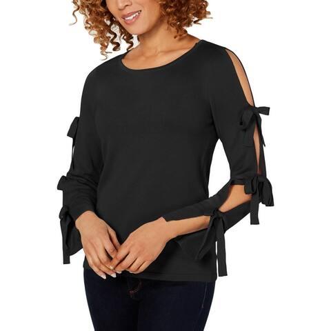 CeCe Women's Knit Split Bow Sleeve Pullover Sweater