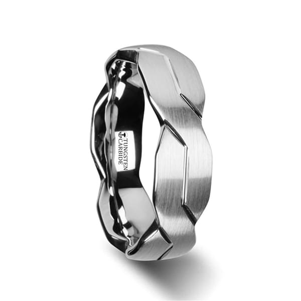 THORSTEN - FOREVER White Tungsten Ring with Brushed Carved Infinity Symbol Design - 6mm