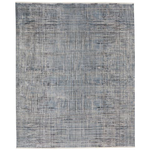 Calvin Klein Balian Carved Linear Blue Area Rug