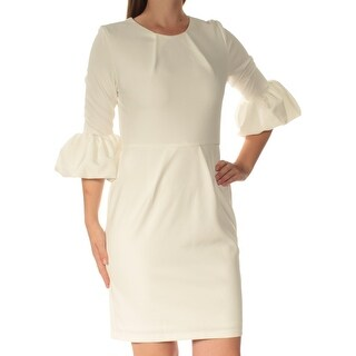 BETSY & ADAM Womens White 3/4 Sleeve Crew Neck Above The Knee Sheath Dress Petites Size: 10