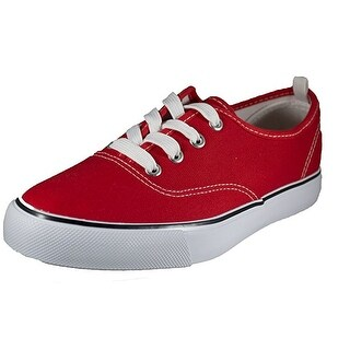 Womens Red Canvas Shoe Solid Color Low Top Lace Up Fashion Sneaker