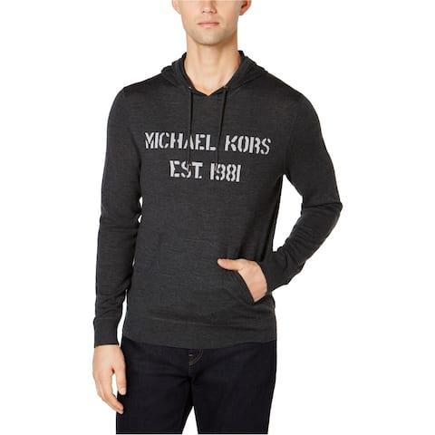 Michael Kors Mens Est 1981 Hoodie Sweatshirt, Grey, Large