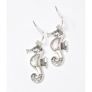 Mother of Pearl Seahorse Fish Hook Earrings