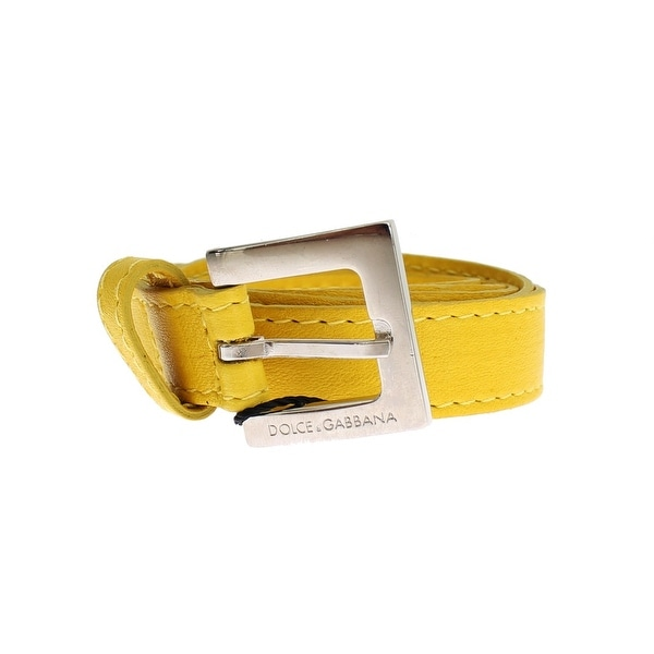 Dolce & Gabbana Yellow Leather Silver Buckle Logo Belt
