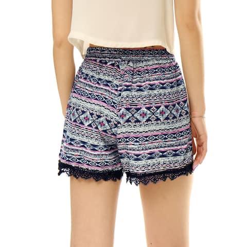Unique Bargains Women's Elastic Waist Paisleys Cashew Flower Prints Casual Shorts