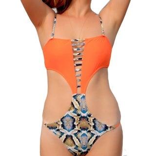 Orange Monokini Swimsuit Swimwear Women One Piece Bodysuit High Cut Swim Suit Backless Bathing Clothes
