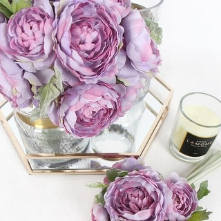 """G Home Collection Silk 6 Ranunculus Asiaticus Buttercup Bouquet in Purple 11"""" Tall - Pink"""