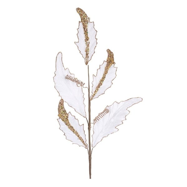"""Club Pack of 12 Decorative Artificial White Velvet Glittered Acanthus Spray 33"""""""