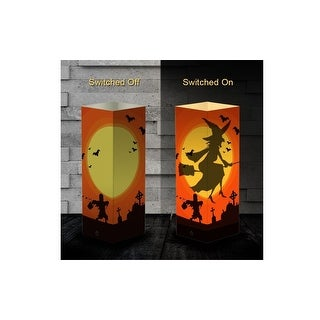 Halloween Party Deco LED Paper Table Lamp Witch Shadow Light USB Tower Lantern