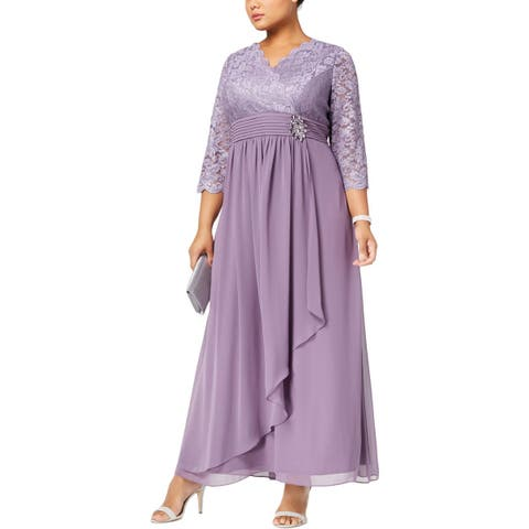 Alex Evenings Womens Plus Evening Dress Lace Special Occasion