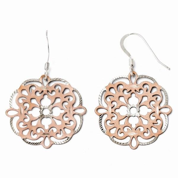 Sterling Silver Rose-tone 18k Flash Plated Dangle Earrings