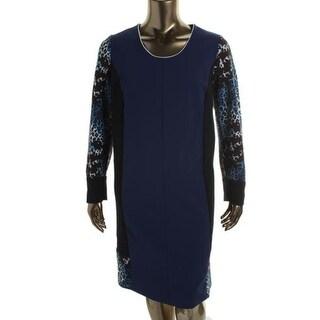 Marina Rinaldi Womens Duna Printed Colorblock Wear to Work Dress - 20