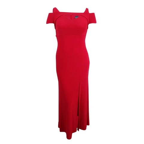 Nightway Women's Cold-Shoulder Keyhole Gown (10, Red) - Red - 10