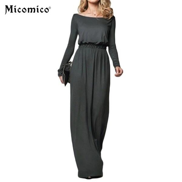 637e11bc638ed Shop Women Elegant Maxi Dress 2017 Loose Long Sleeve Retro Slash ...